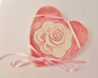 Ceramic Pottery Rose Flower Coasters, Heart Shaped Coasters, Set of Two Coasters, Romantic Dining, Valentine's Day