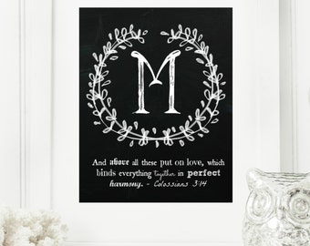 "Instant ""Family Monogram Scripture"" Chalkboard Wall Art Print 11x14 Typography Letter ""M"" Printable Home Decor"