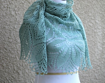 Knitted shawl, knit wrap, wedding shawl, bridesmaids shawl gift for her in olive green color lace scarf knitted wrap