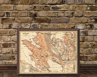 Bergen map -  Vintage map of Bergen - fine archival print