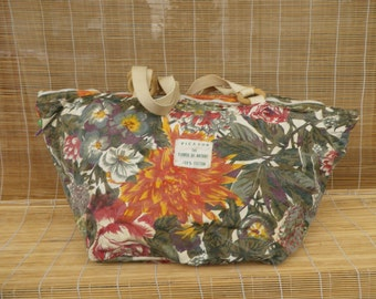 Vintage Floral Pattern Canvas Textile Zip Up Top Large Size Tote Bag Hobo Purse