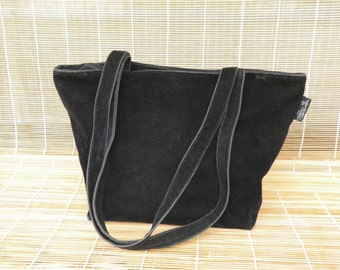 Vintage Deep Black Faux Suede Zip Up Top Tote Shoulder Bag