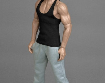 1/6th scale black tank top vest for regular size collectible movable action figures and male fashion dolls
