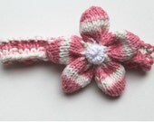Headband - Pink and White Headband with Pink and White Flower Shower Gift Photography Prop