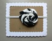 Fourth of July Headband - Flower Headband – Navy White Flower – Baby Infant Toddler Child Headband - Skinny Elastic Headband - Striped