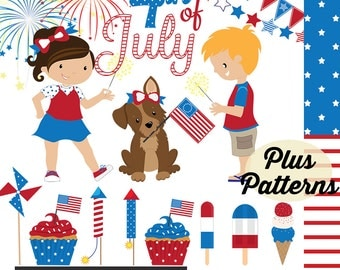 Fourth of July Digital Graphics, INSTANT DOWNLOAD, July 4th clipart, red, white, and blue clip art, commercial use ok