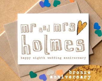 Eighth Anniversary Card - Bronze Anniversary Card - Personalised Mr and Mrs Anniversary Card - 8th Wedding Card - Same Sex Anniversary Card