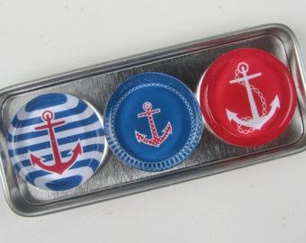 Anchor Nautical Sailing Magnets, Magnet Set Storage Tin