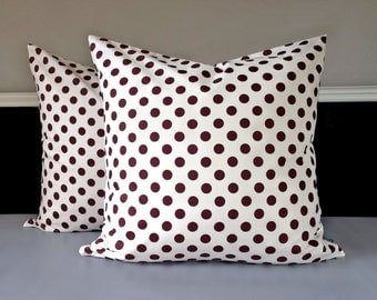 """Pair of Pillow Covers - Brown Polka Dot 21"""" x 21"""", Ready to Ship"""