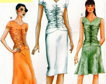 UNCUT Vogue Pattern 7229 - Misses Lined Dress with Gathered Bodice & Dropped Waist - 12-16