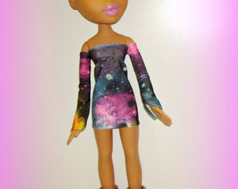 "Big Bratz Handmade Doll Clothes, Galaxy Print Dress and Sleeves, fits 24"" Large Bratz Doll"