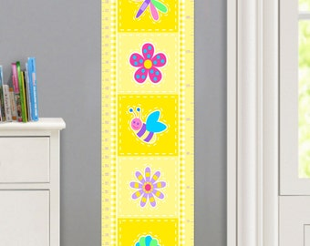 Kids Personalized Flower Land Canvas Growth Chart, Girls Bedroom Decor, High Quality Canvas Growth Chart, Nursery Wall Decor, Very Cute