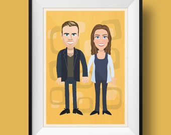 Custom Two Person Retro Cartoon Print