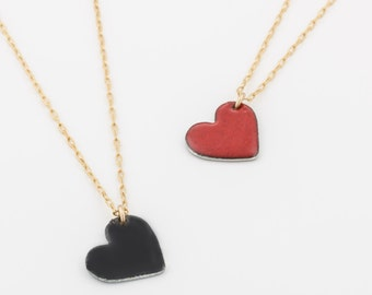 Heart Necklace - Gold Heart Necklace - Special Gift For Her -Black or Red Enamel Heart -Gold Plated Heart Charm- Red or Black Heart Necklace