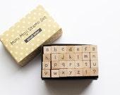 lowercase alphabet rubber stamp set. wood mounted stamp. japanese design. scrapbooking. diy wedding birthday. small. no1