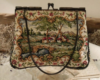 Vintage Petit Point Purse Style / Tapstry Purse with Kiss Clasp Closure / Metal Chain Handle / Strap / Clutch