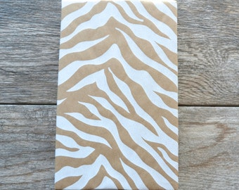 White Zebra Kraft Wrapping Paper, 20 Square Feet - Animal Print Gift Wrap - Kraft Paper - Safari Pattern - Safari Club - Jungle