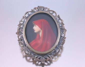 Hand Painted Portrait Brooch Marked 800 Silver Pin Pendant Combo