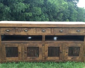 Aged Oak with Metal TV Console