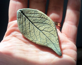 Vintage Pottery Leaf Brooch Pin Green matte glaze figural jewelry nature leaves ceramic imprint textured tree forest woodland natural broach