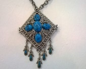 Vintage Turquoise Pendant Necklace with Dangling Drops - Silver Metal Chain and Pendant - Boho Chic - Southwestern Style Necklace