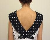 Vintage 80's Black & White Polka Dot Dress / Fitted Sailor Collar Dress M