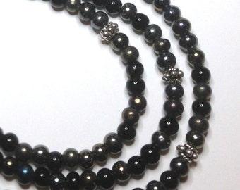 "Handmade  19"" 21"" 23"" 3 STRAND NECKLACE Black Iridescent Metallic Beads Silver Accents and Hook Closure"