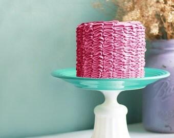 "Aqua Cake Stand shown with Fuschia Pink Ruffle Cake / 12"" Cake Dish / Cake Plate / Cake Platter / Cake Pedestal / Cake Tray"