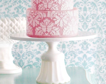 "Cake Stand / 14"" Wedding Cake Stand / Cake Plate / Cupcake Stand / ShabbyChic Cottage Chic Style Decor for Shabby Chic Weddings"