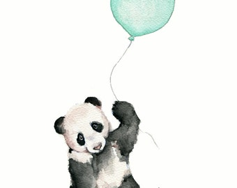 art nursery, mint nursery print, mint balloons, mint green wall art, mint baby shower, panda nursery print, panda bear illustration