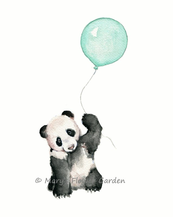 Art nursery mint nursery print mint balloons mint green for Panda bear decor