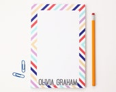 Personalized Notepad Custom Note Pad Teacher Gifts Large Memo Pad Desk Set Office Accessories To Do List Hostess Gift Preppy Stripes Peach