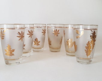 Midcentury Highball Cocktail Gold Leafed Barware Cocktail Glasses Canadian Maple Leaf Tumbles Holiday Gift Parties Gift