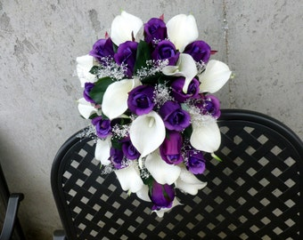 Cascading Purple rose white calla lily bridal bouquet with baby's beath