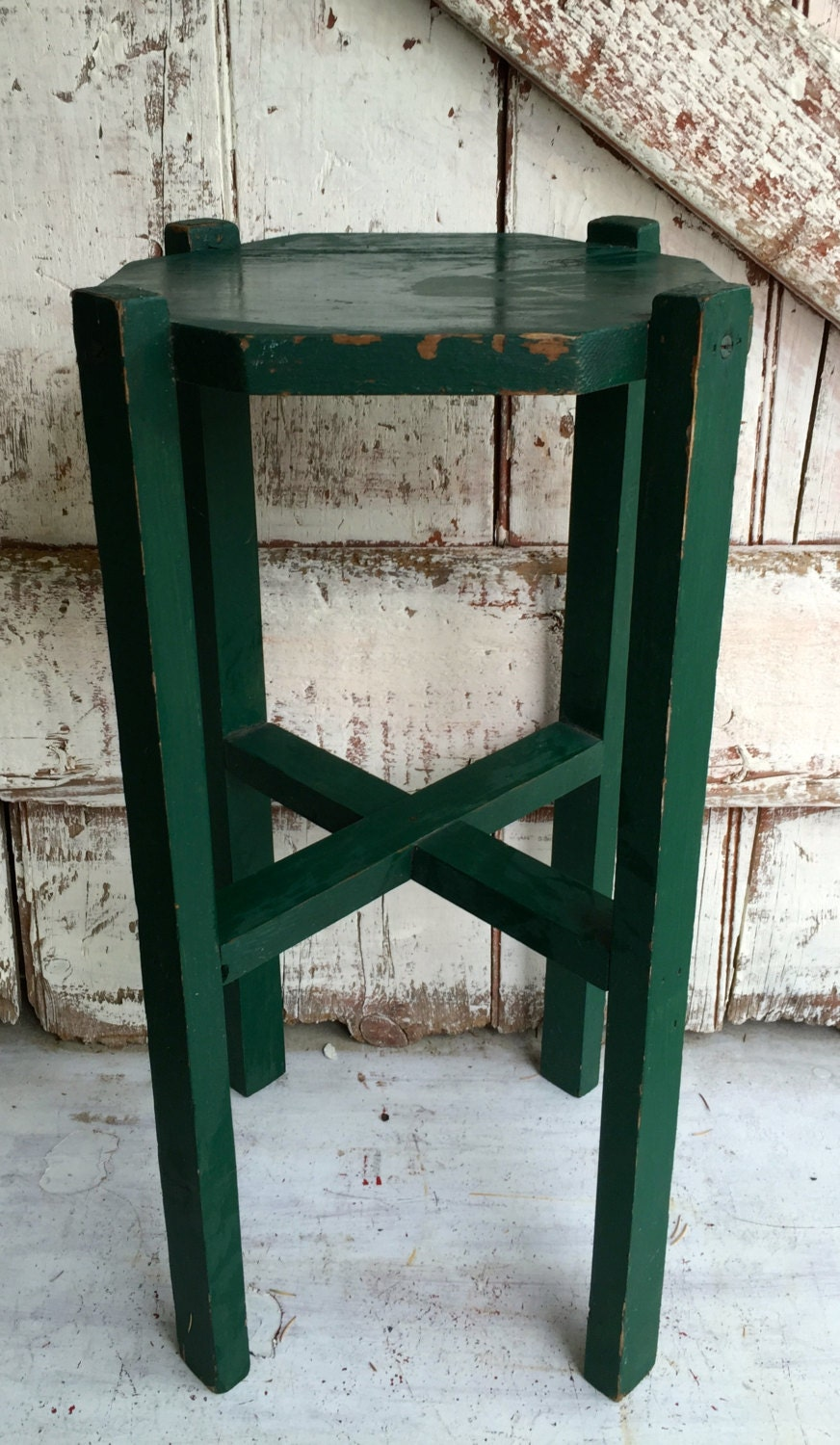 Antique green wooden plant stand small parlor table wood side
