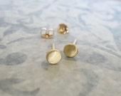 3.5 mm Gold studs , Brushed matt gold disc post earrings , Small circle gold studs , Handmade by Adi Yesod