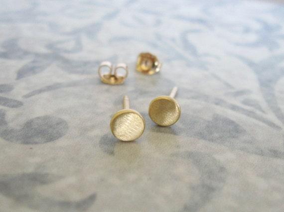 3.5 mm Gold studs , Brushed matt gold disc post earrings , Small circle gold studs , Handmade by Adi Yesod