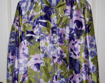 Vintage Ladies Purple Floral Print Jacket by Drapers & Damons Size 16 Only 6 USD