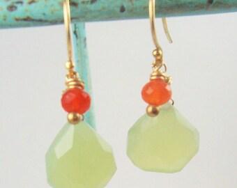 Green Chalcedony Earrings Drop Earrings Gemstone Jewelry Orange Carnelian Dangle Earrings Orange Green 14kt Gold Wire Wrapped Jewelry