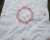 Vintage  Hand Embroidered Floral Table Cloth