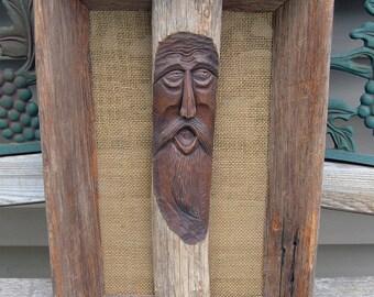 ON SALE.......Vintage Wood Carved Tree Spirit in Barnwood Frame