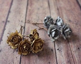 Gold Rose Flower Hair Clip, Silver Flower hair pin, Whimsical. Wedding. Fall, Autumn, Hair Accessories, Gold Wedding, Holidays Accessories