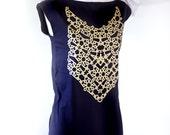 GOLD Geometric Pattern Screenprint on Black Tunic Dress // Shine Hard //