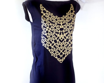 GOLD Geometric Pattern Screenprint on Black Tunic Dress // Shine Hard //