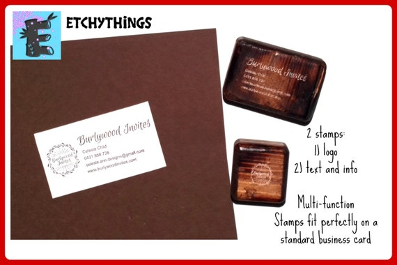 """Business Card Stamp - Single 2 3/4"""" Business Card or Etsy Shop Stamp for business cards & shop packaging or Split into logo plus text stamps"""