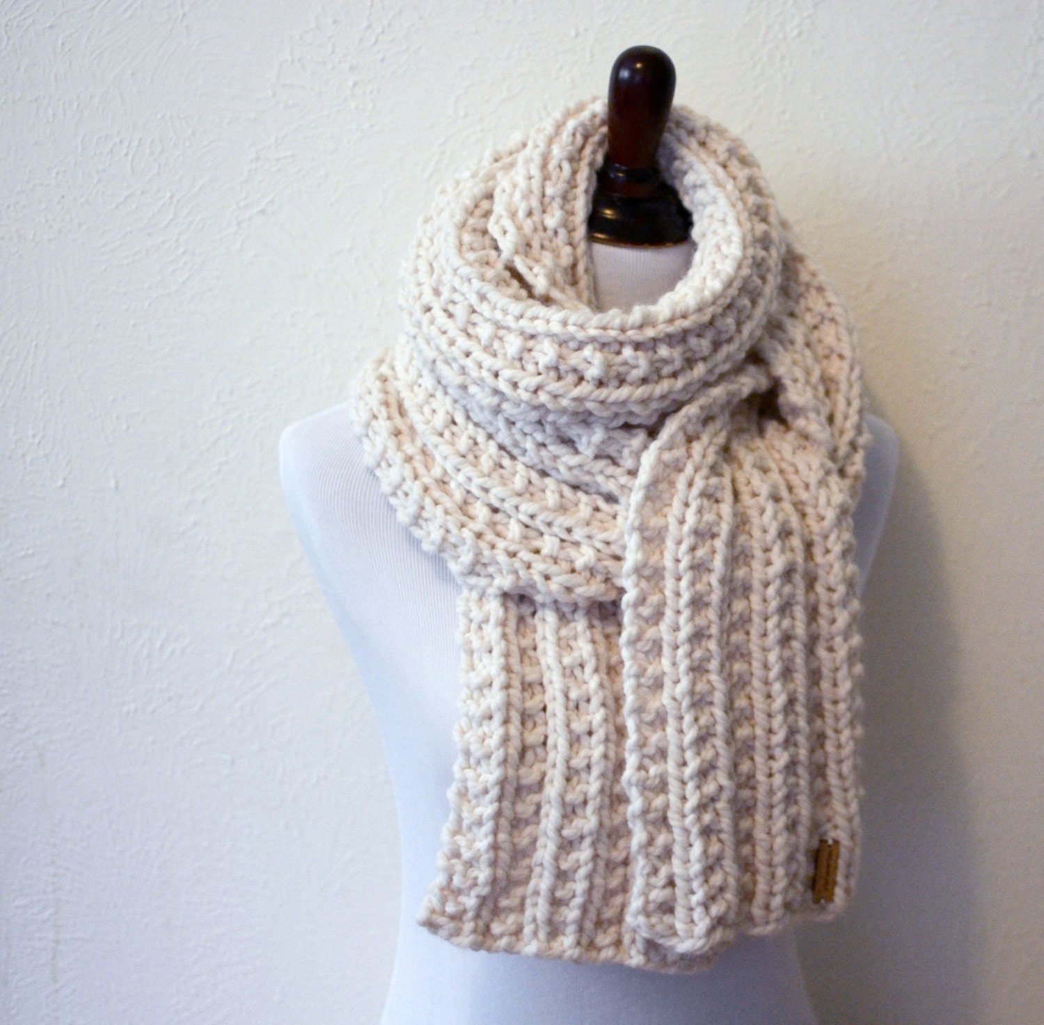 Knitting Chunky Scarves : Chunky scarf hand knitted extra long