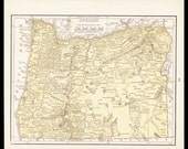 Small Oregon Map of Oregon State Map (Vintage Atlas Wall Art Print, 1900s Antique Wall Decor) Vintage Old Color Map No. 93-3