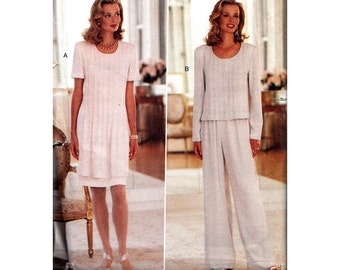 Butterick 3897 Misses Pin Tuck Dress & Top with Wide Leg Pants Uncut 1990s Sewing Pattern Bust 31.5- 32.5