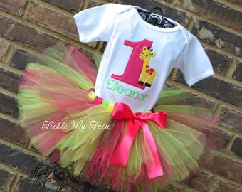 Giraffe Themed Birthday Tutu Outfit-Giraffe Birthday Tutu Set-First Birthday Giraffe Party-Wild at ONE Tutu Outfit-Jungle Birthday Outfit