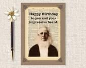 "Funny Birthday Card, Birthday Card For Him, Beard Card, Handmade Card, 5 x 7 ""Happy Birthday To You And Your Impressive Beard"""